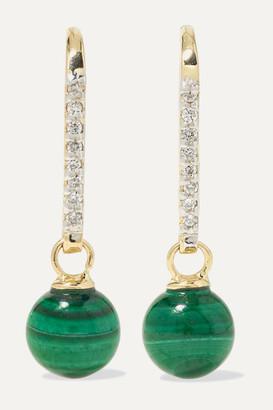 Mateo 14-karat Gold, Malachite And Diamond Earrings - one size