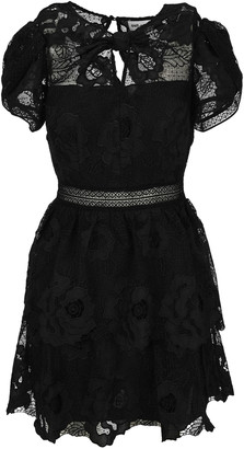 Self-Portrait Lace Guipure Tiered Mini Dress