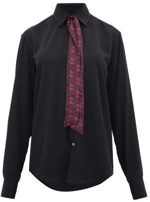 Edward Crutchley Printed Tie-neck Silk Shirt - Black