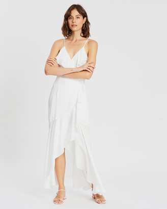 Shona Joy Women's White Midi Dresses - Bias Frill Wrap Dress - Size 8 at The Iconic