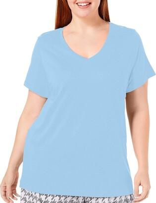 Hue Women's Plus Short Sleeve V-Neck Sleep