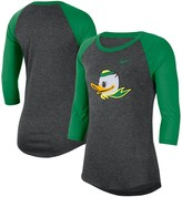 Nike Women's Heathered Charcoal/Green Oregon Ducks 3/4-Sleeve Logo Raglan Performance T-Shirt