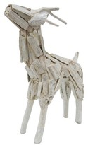 Threshold White Washed Deer Figurine - Large