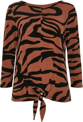 Wallis **TALL Rust Zebra Print Tie Front Top