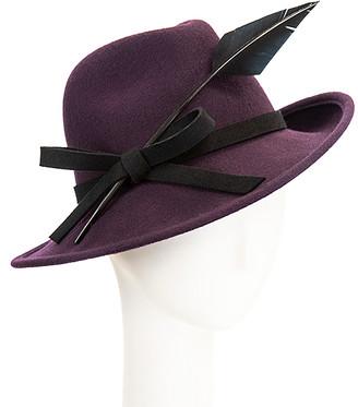 Giovannio Women's Fedoras AUBERGINE - Aubergine Feather-Trim Wool Fedora