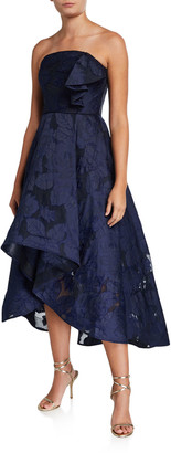 Shoshanna Amberose Strapless High-Low Floral Organza Dress