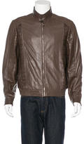 Brioni Matte Crocodile-Trimmed Leather Jacket w/Tags