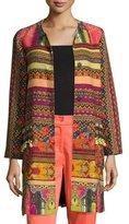 Etro Tassel Tweed A-Line Coat, Multi