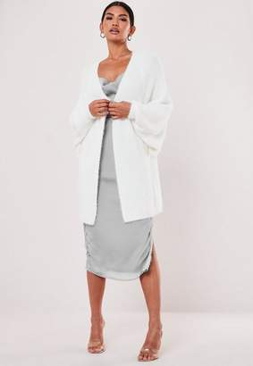 Missguided White Fluffy Batwing Cardigan