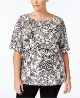 Karen Scott Plus Size Floral-Print Top, Only at Macy's