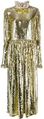 MSGM Ruffled Neck Sequin Long Dress