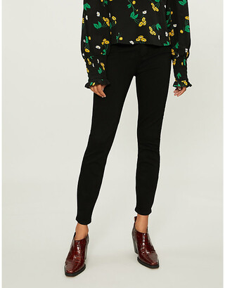Paige Denim Women's Black Shadow Margot Ultra-Skinny High-Rise Cropped Jeans, Size: 23