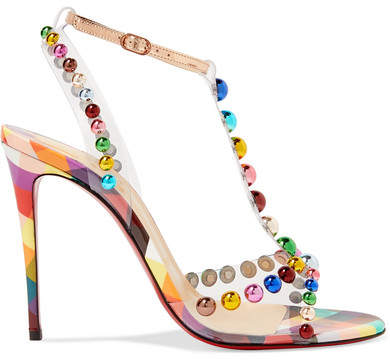 Christian Louboutin Faridaravie 100 Embellished Pvc And Mirrored-leather Sandals - Metallic