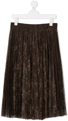 Ermanno Scervino Glitter Lace Panelled Skirt