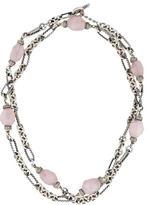 David Yurman Rose Quartz & Diamond Figaro Chain Necklace