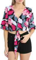 Miss Shop Tie Front Button Shirt