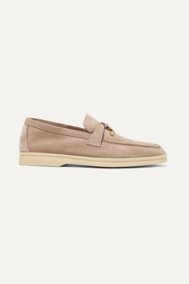 Loro Piana Summer Charms Suede Loafers - Mushroom