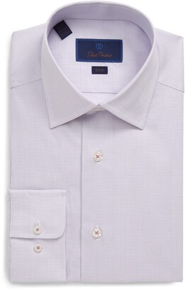 David Donahue Slim Fit Micro Print Dress Shirt