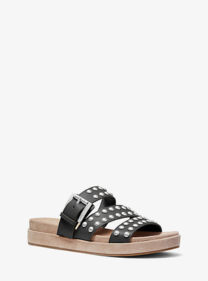 Michael Kors Ansel Studded Leather Slide Sandal