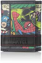Marvel Men's Multi Character Panel Trifold Wallet in Collectible Tin Box Accessory, -multi colored