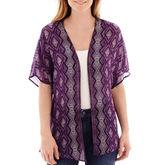 Liz Claiborne Short-Sleeve Print Kimono