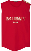 Balmain Button-embellished Printed Cotton-jersey Top - Red