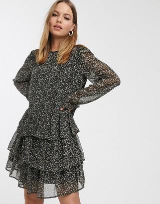 Vero Moda ruffle smock mini dress in ditsy smudge print-Black