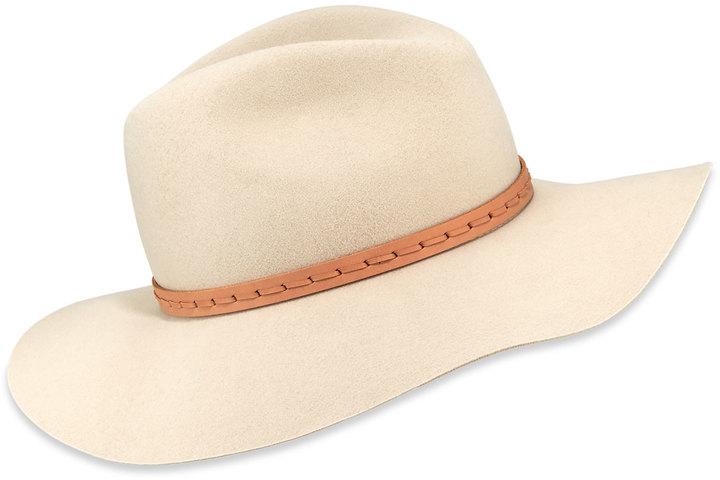 Rag & Bone Wool Felt Wide-Brim Fedora Hat, Tan