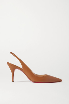 Christian Louboutin Clare 80 Leather Slingback Pumps - Tan