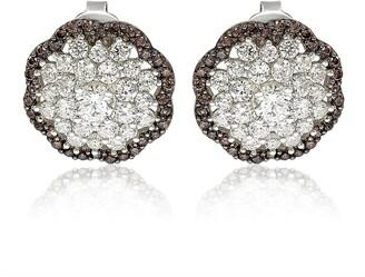 Suzy Levian Sterling Silver Brown Cubic Zirconia Flower Stud Earrings