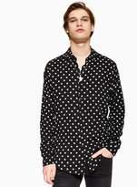 Topman Black and White Polka Dot Slim Shirt