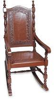 Inca Leather Wood Rocking Chair, 'Inca Aristocrat'