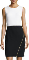 Neiman Marcus Zipper-Trim Colorblock Sheath Dress, White/Black