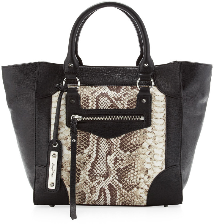 Sam Edelman Porter Python-Print Center Tote, Black