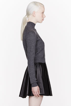 Alexander Wang Grey Merino Blend Cropped Turtleneck