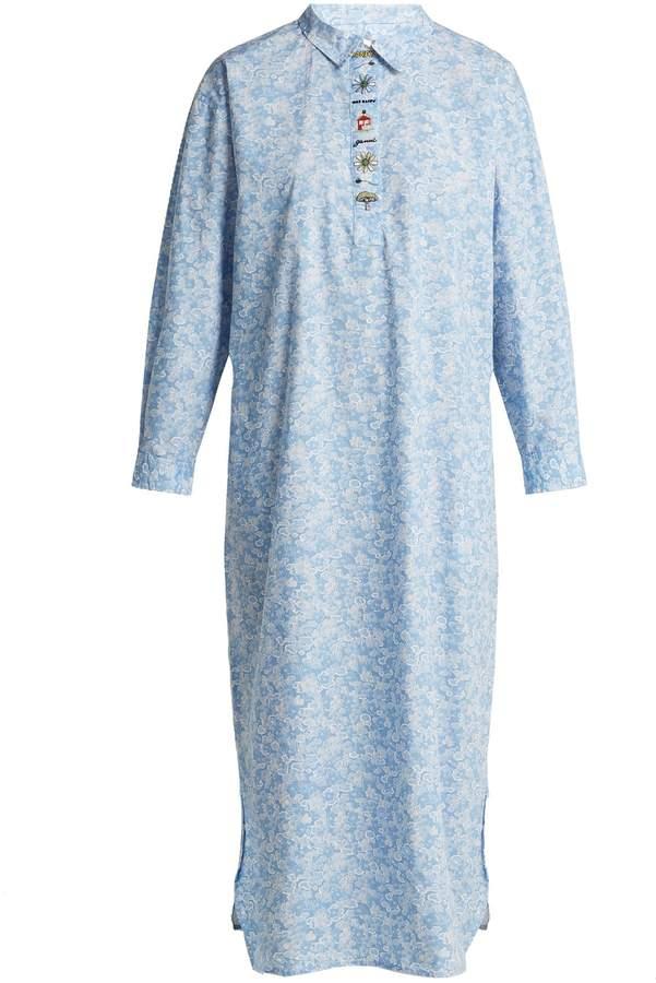 Ganni Sage floral-print long-sleeve dress