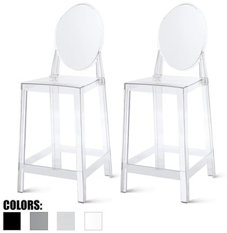 """2xhome Set of 2 25"""" Seat Height Bar Stool Plastic Chair Counter Armless With Oval Back For Kitchen Patio Garden Outdoor"""