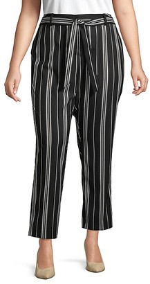 Vince Camuto Plus Striped Belted Pants