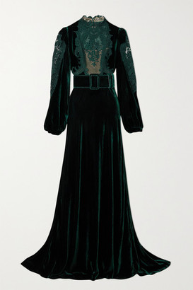 Costarellos Marcelle Belted Corded Lace-paneled Velvet Gown - Dark green