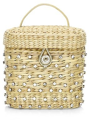 Poolside The Ashleigh Embellished Straw Canteen Bag