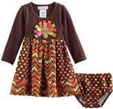 Bonnie Jean Baby Girl Thanksgiving Turkey Dress & Bloomers Set