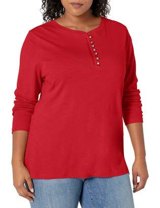 Chaps Women's Plus Size Long Sleeve Cotton Rib-Knit Henley Shirt
