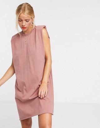 ASOS DESIGN padded shoulder sleeveless mini T-shirt dress in taupe
