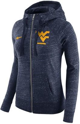 Nike Women's Heathered Navy West Virginia Mountaineers Gym Vintage Full-Zip Hoodie