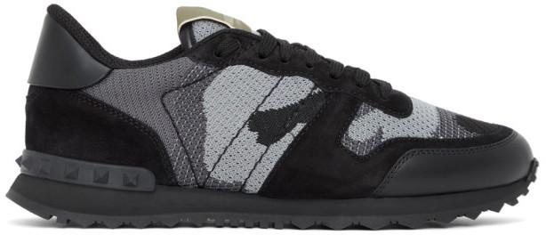 Valentino Black and Grey Garavani Rockrunner Sneakers