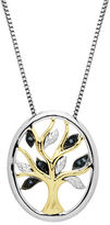 Lord & Taylor Sterling Silver 14Kt. Yellow Gold and Green Diamond Pendant Necklace