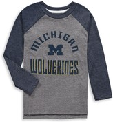 Outerstuff Preschool Gray/Navy Michigan Wolverines Classic Gridiron Tri-Blend Raglan Long Sleeve T-Shirt