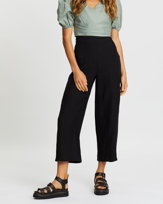 AERE - Women's Black Pants - Essential Linen Pants - Size 6 at The Iconic