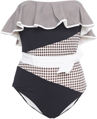 Marysia Swim Ruffled Paneled Gingham Halterneck Swimsuit