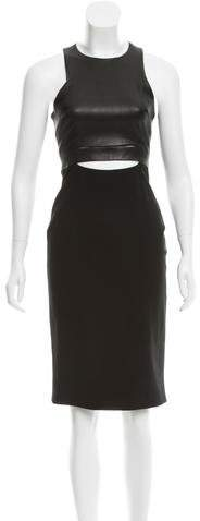 Cushnie et Ochs Leather Bodice Midi Dress